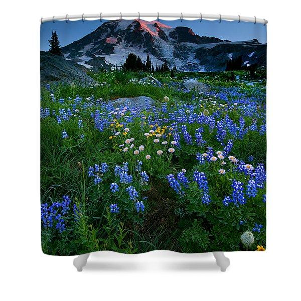 Rainier Wildflower Dawn Shower Curtain by Mike  Dawson