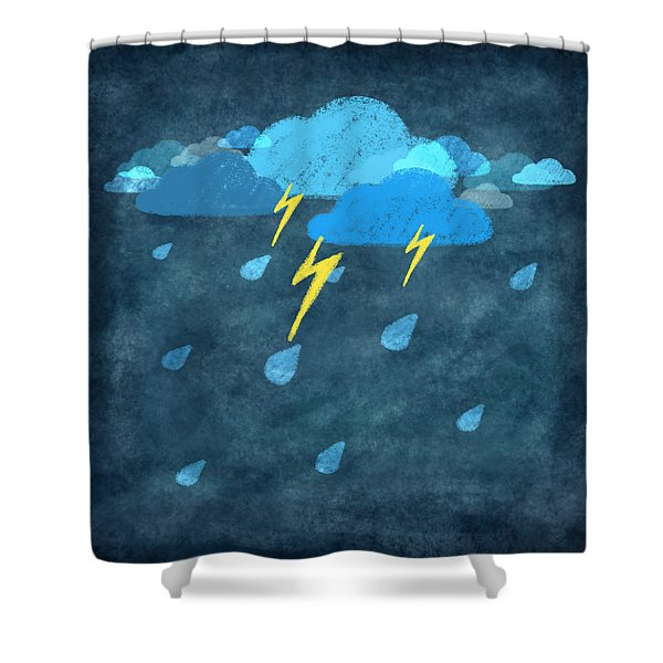 rainy day with storm and thunder Shower Curtain by Setsiri Silapasuwanchai