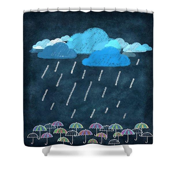 rainy day with umbrella Shower Curtain by Setsiri Silapasuwanchai