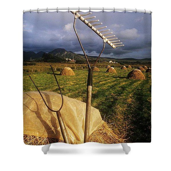 Rake With A Pitchfork On Hay In A Shower Curtain by The Irish Image Collection
