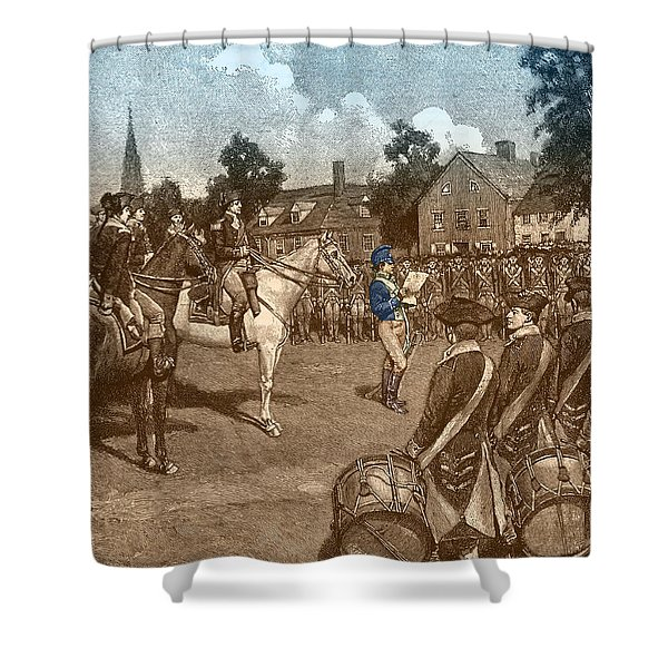 Reading The Declaration Of Independence Shower Curtain by Photo Researchers