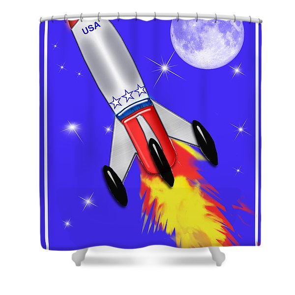 Really Cool Rocket In Space Shower Curtain by Elaine Plesser