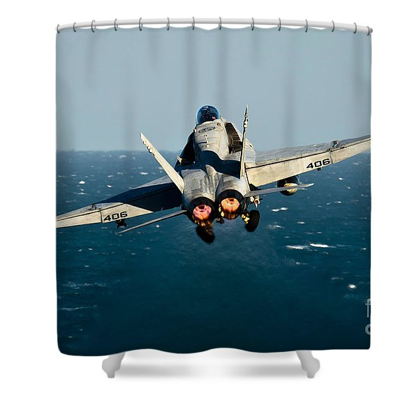 Rear View Of An Fa-18c Hornet Taking Shower Curtain by Stocktrek Images
