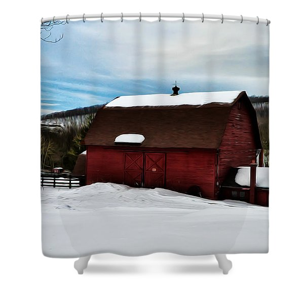 Red Barn in the Snow Shower Curtain by Bill Cannon