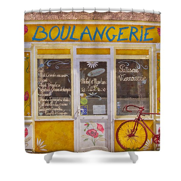 Red Bike at the Boulangerie Shower Curtain by Debra and Dave Vanderlaan