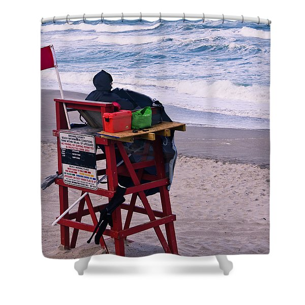 Red Flag Day Shower Curtain by Roger Wedegis