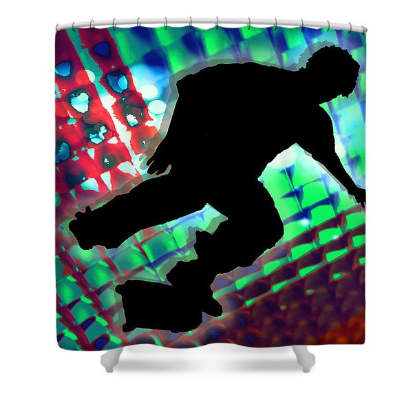 Red Green And Blue Abstract Boxes Skateboarder Shower Curtain by Elaine Plesser