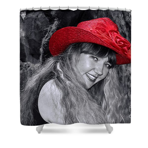 Red Hat And A Blonde Black And White Shower Curtain by Mariola Bitner