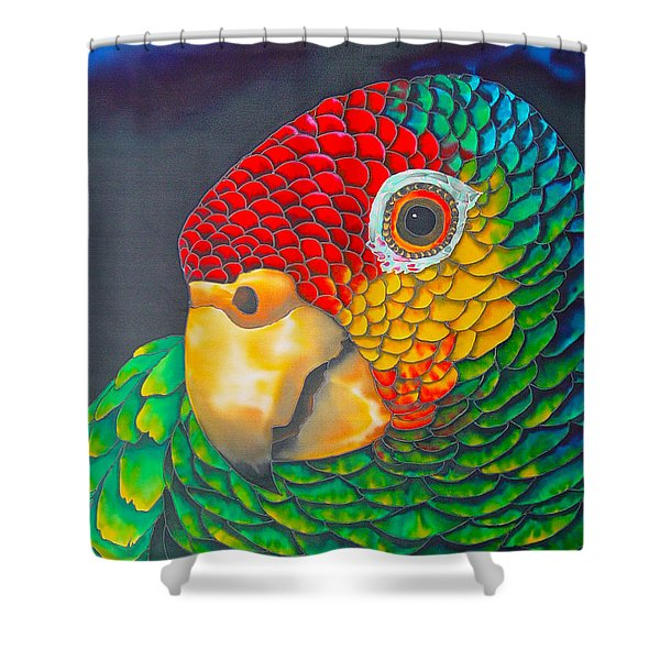 Red Lorred Parrot Shower Curtain by Daniel Jean-Baptiste