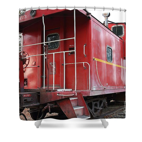 Red Sante Fe Caboose Train . 7d10330 Shower Curtain by Wingsdomain Art and Photography