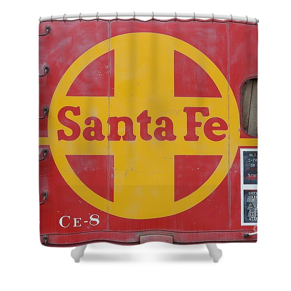 Red Sante Fe Caboose Train . 7D10333 Shower Curtain by Wingsdomain Art and Photography