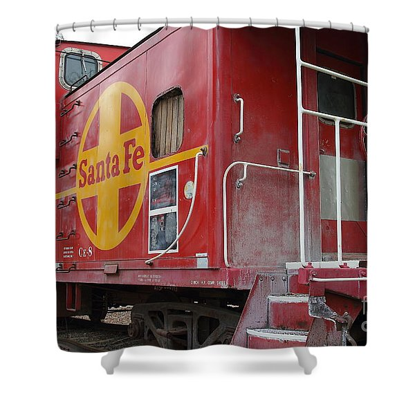 Red Sante Fe Caboose Train . 7D10334 Shower Curtain by Wingsdomain Art and Photography