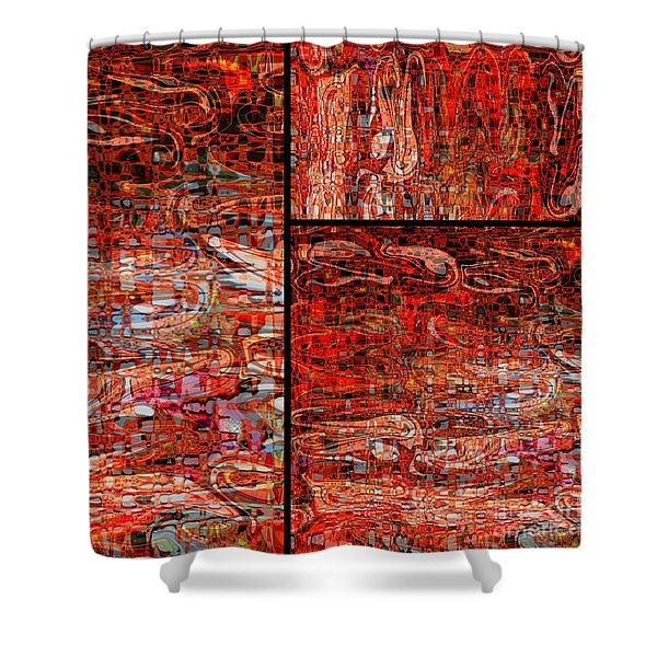 Red Splashes Swishes and Swirls - Abstract Art Shower Curtain by Carol Groenen