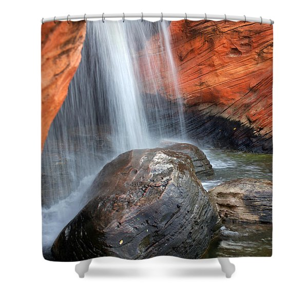 Red Waterfall Shower Curtain by Carlos Caetano
