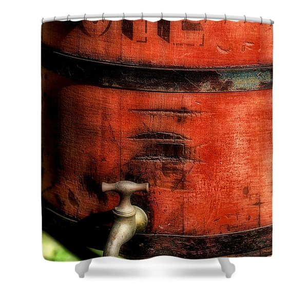 Red weathered wooden bucket Shower Curtain by Paul Ward