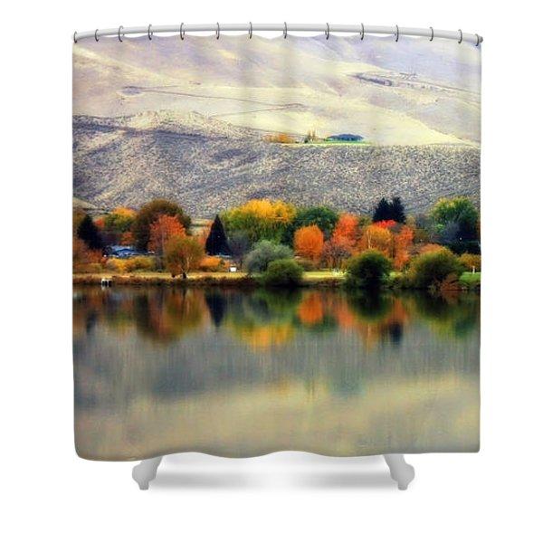 Reflection of Fall in Prosser Shower Curtain by Carol Groenen