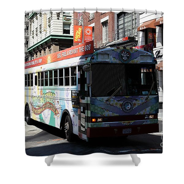 Retro 60s San Francisco Haight Ashbury Magic Bus - 5d18009 Shower Curtain by Wingsdomain Art and Photography