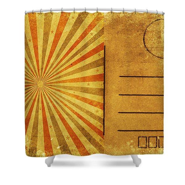 retro grunge ray postcard Shower Curtain by Setsiri Silapasuwanchai