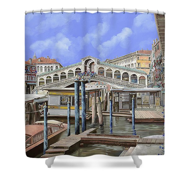 Rialto dal lato opposto Shower Curtain by Guido Borelli