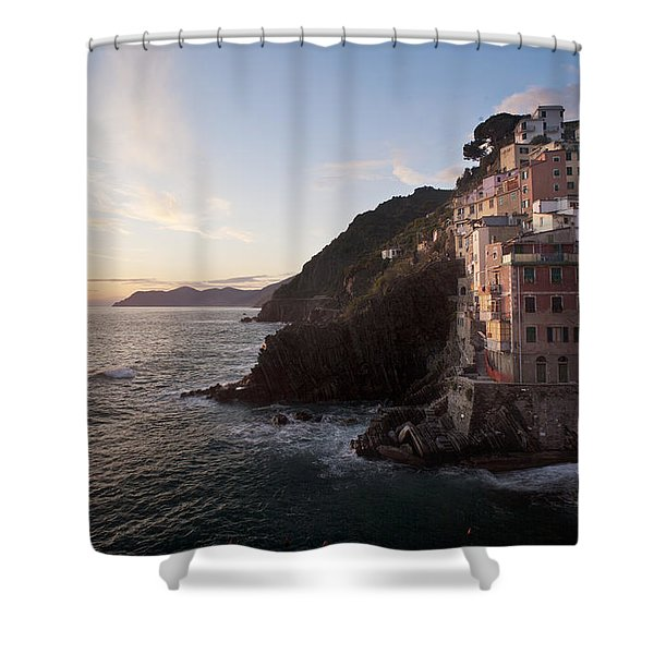 Riomaggio Sunset Shower Curtain by Mike Reid