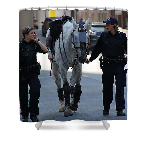 Riot Horse Shower Curtain by Andrew Fare