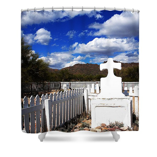 R.i.p. In Old Tuscon Az Shower Curtain by Susanne Van Hulst