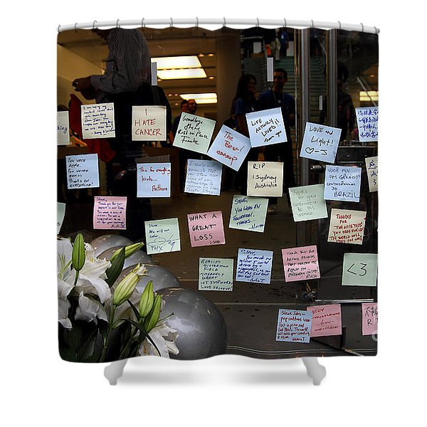 RIP Steve Jobs . October 5 2011 . San Francisco Apple Store Memorial 7DIMG8575 Shower Curtain by Wingsdomain Art and Photography