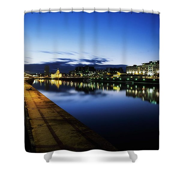 River Liffey, Sunset, View Of Customs Shower Curtain by The Irish Image Collection