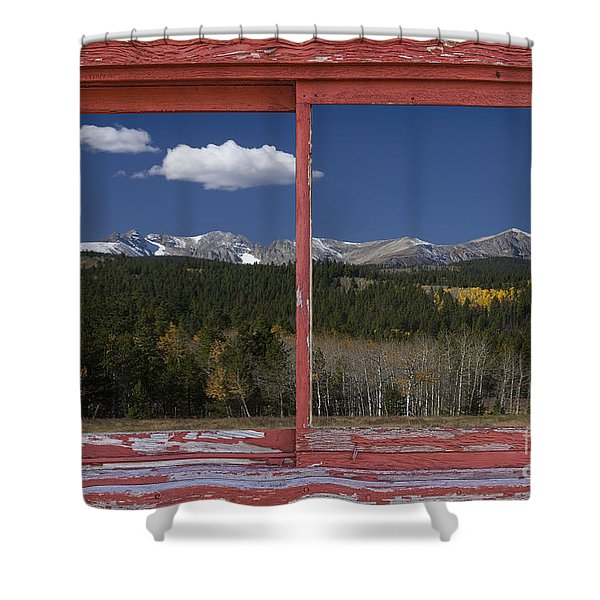 Rocky Mountain Autumn Red Rustic Picture Window Frame Photos Art Shower Curtain by James BO  Insogna