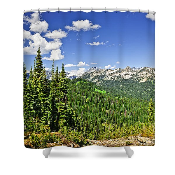 Rocky mountain view from Mount Revelstoke Shower Curtain by Elena Elisseeva