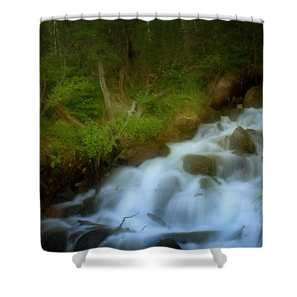 Rocky Mountain Waterfall Shower Curtain by Ellen Heaverlo