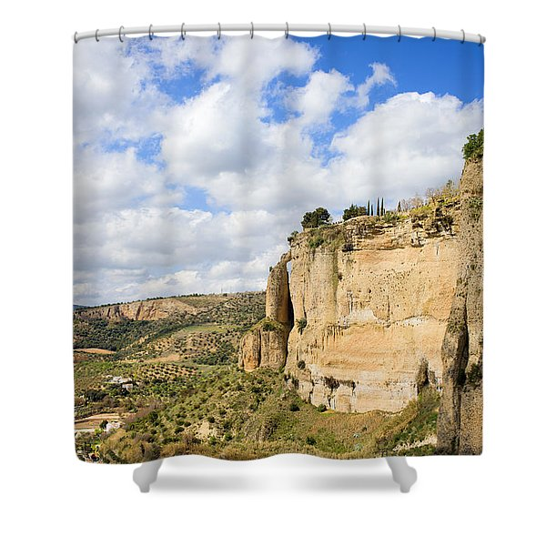 Ronda Cliffs in Andalusia Shower Curtain by Artur Bogacki