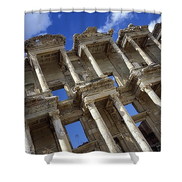 Ruins Of The Great Library At Ephesus Shower Curtain by Axiom Photographic