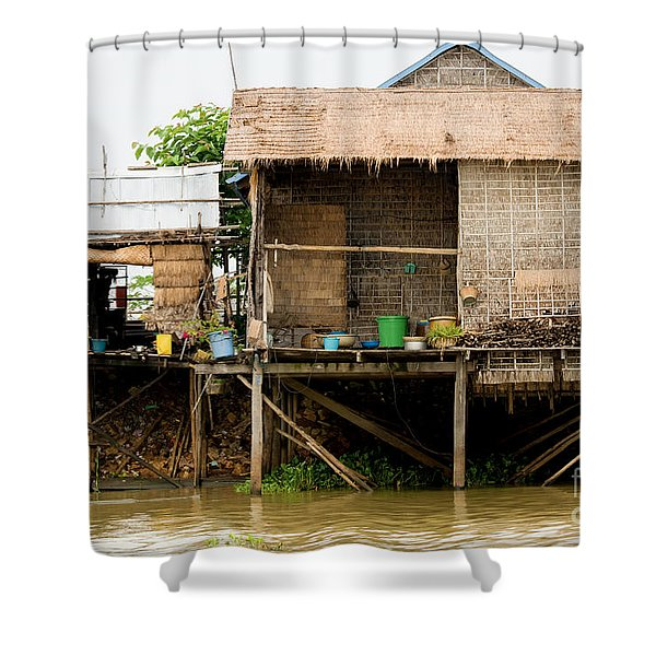 Rural Houses in Cambodia Shower Curtain by Artur Bogacki