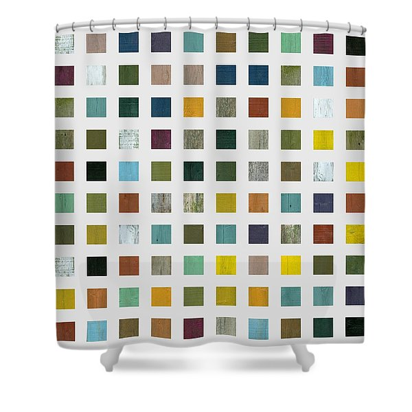Rustic Wooden Abstract V Shower Curtain by Michelle Calkins
