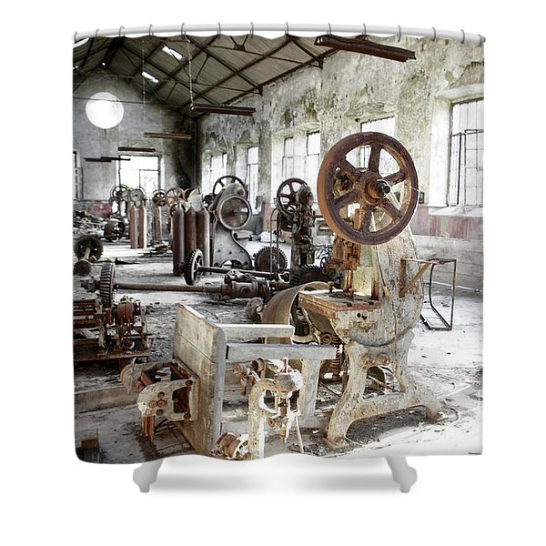 Rusty Machinery Shower Curtain by Carlos Caetano