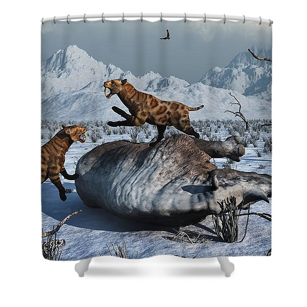 Sabre-toothed Tigers Battle Shower Curtain by Mark Stevenson