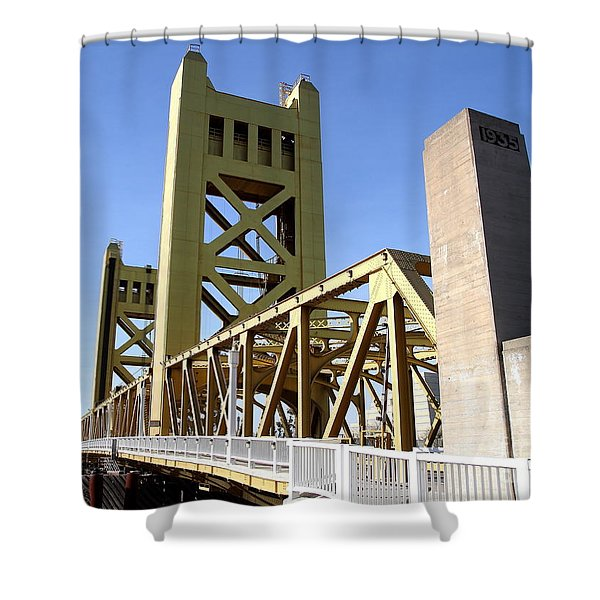 Sacramento California Tower Bridge Crossing The Sacramento Delta River . 7d11553 Shower Curtain by Wingsdomain Art and Photography