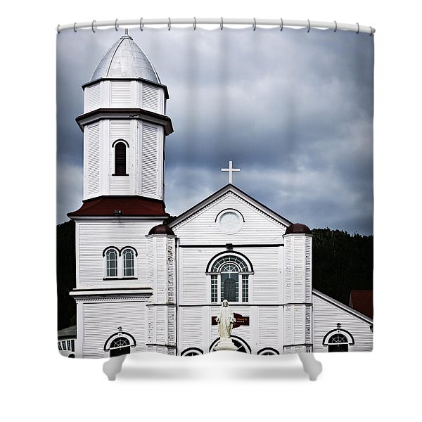 Sacred Heart Church in Placentia Newfoundland Shower Curtain by Elena Elisseeva
