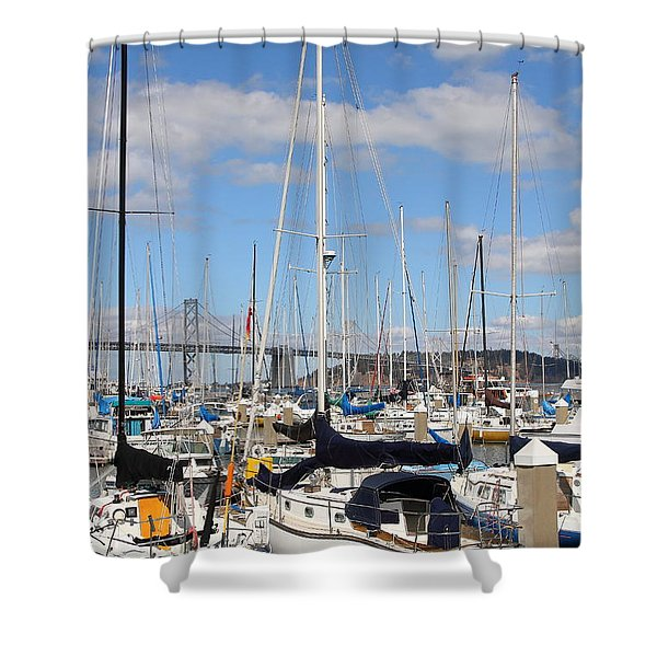 Sail Boats At San Francisco China Basin Pier 42 With The Bay Bridge In The Background . 7d7685 Shower Curtain by Wingsdomain Art and Photography
