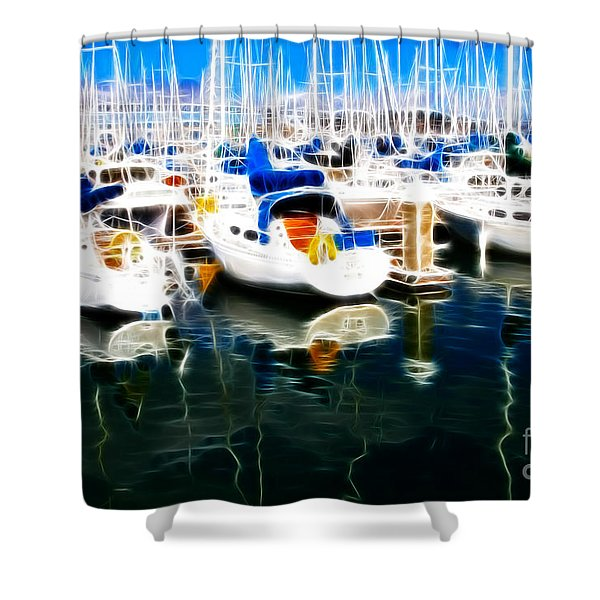 Sail Boats At San Francisco's Pier 42 . Electrified Shower Curtain by Wingsdomain Art and Photography