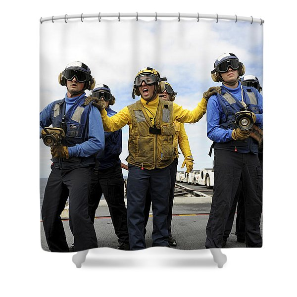 Sailors Fight A Simulated Fire Aboard Shower Curtain by Stocktrek Images