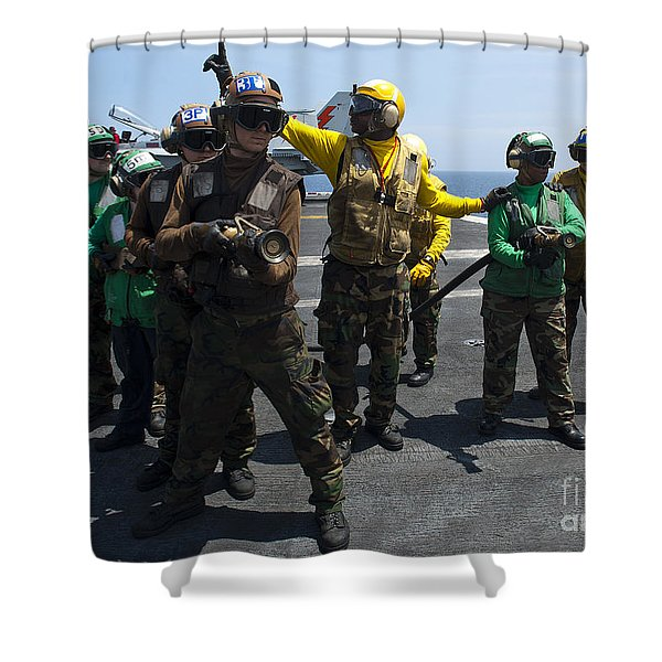 Sailors Fight A Simulated Fire Drill Shower Curtain by Stocktrek Images