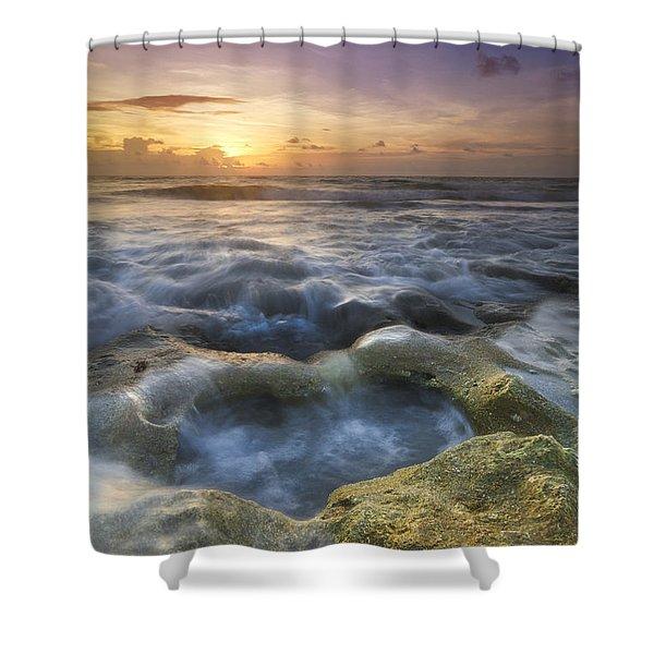 Salty Pool Shower Curtain by Debra and Dave Vanderlaan