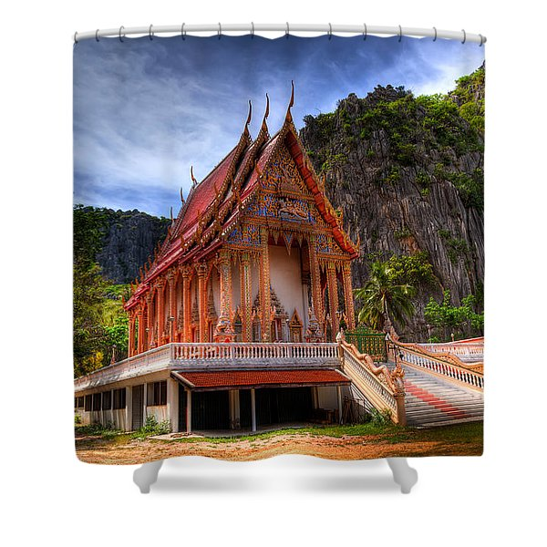 Sam Roi Yot Temple Shower Curtain by Adrian Evans