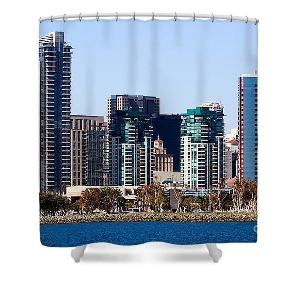 San Diego California Skyline Shower Curtain by Paul Velgos