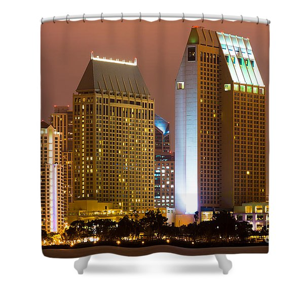 San Diego City at Night Shower Curtain by Paul Velgos