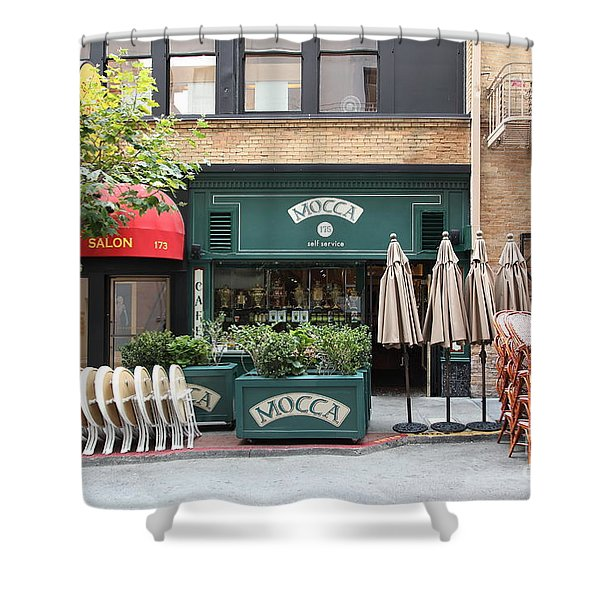 San Francisco - Maiden Lane - Mocca Cafe - 5D17788 Shower Curtain by Wingsdomain Art and Photography