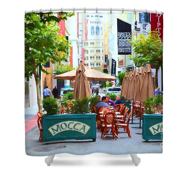 San Francisco - Maiden Lane - Outdoor Lunch at Mocca Cafe - 5D17932 - Painterly Shower Curtain by Wingsdomain Art and Photography