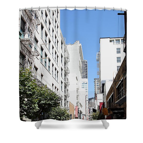 San Francisco - Maiden Lane - Outdoor Lunch At Mocca Cafe - 5d18011 Shower Curtain by Wingsdomain Art and Photography